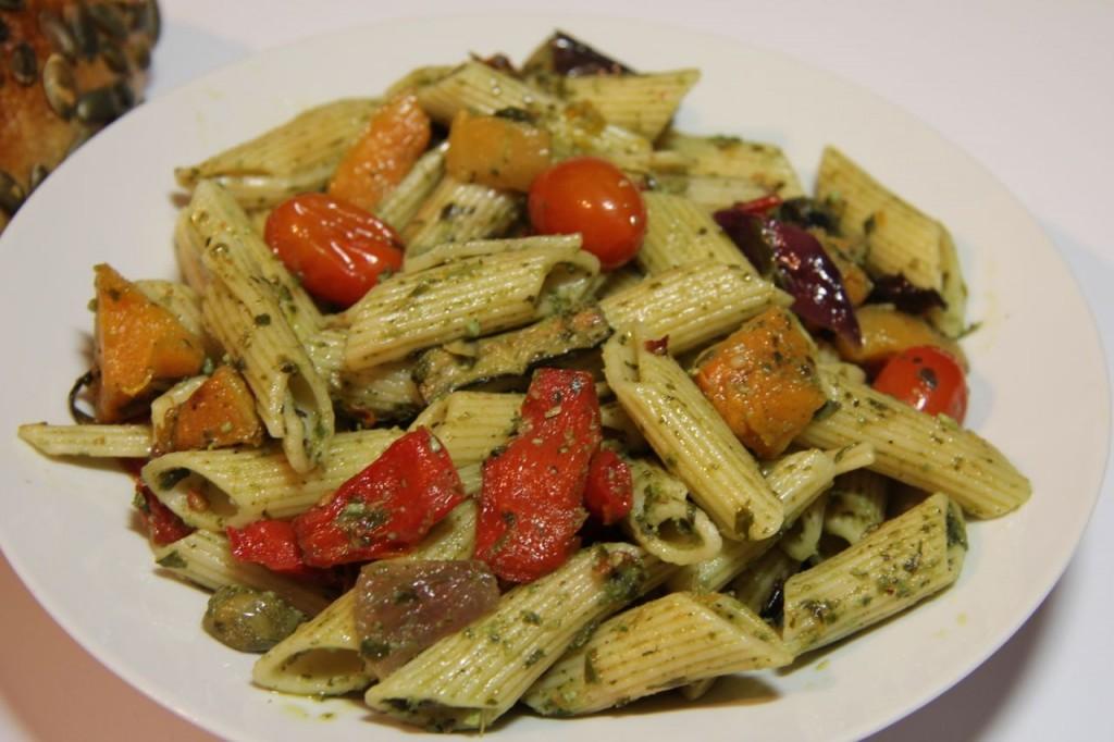 Roast veg pesto pasta